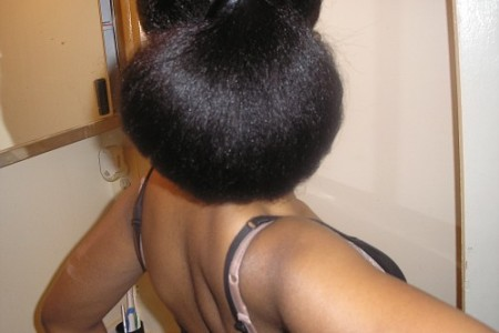 Natural Hair Styles- Bun on Straightened Hair
