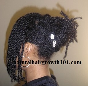 Natural Hair Styles- Twist pin up with cowrie shells