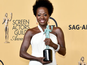 Viola Davis looking fabulous after accepting her award